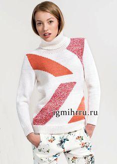 Классический шерстяной свитер с геометрическим рисунком. Вязание спицами