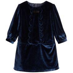 Billieblush - Baby Girls Blue Velveteen Dress | Childrensalon