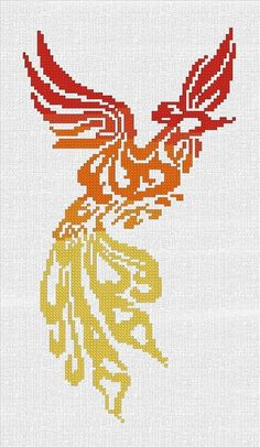 Counted Cross Stitch Pattern Fire Phoenix by TheThreadedDream