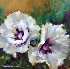 WHITE WING POPPIES....NANCY MEDINA has been named one of the best floral and botanical artists and is known for her bold, impressionistic eye-catching, florals. Nancy teaches throughout the US and Europe, sharing a loose, bright technique that evokes brilliant color. In 2013, she retired from her job as the director of a national magazine to pursue her art and teaching full time. Her original oil paintings have been featured in print, on the Web, and on the covers of magazines.