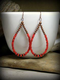 Beaded Hoop Earrings, Red Earrings, Large Hoop Earrings, Teardrop Earrings, Bohemian Earrings, Copper Earrings