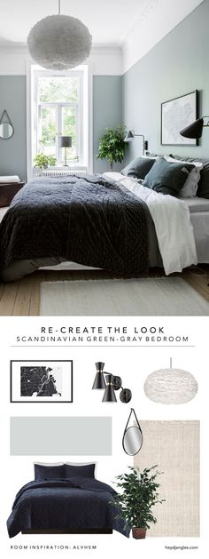 Ideas For Bedroom Green Grey Decor Scandi Bedroom, Bedroom Green, Trendy Bedroom, Bedroom Colors, Modern Bedroom, Master Bedroom, Bedroom Designs, Gray Bedroom Decor, Bedroom Wall