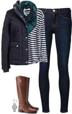 #fall #outfit / Plaid Scarf + Blue Quilted Jacket