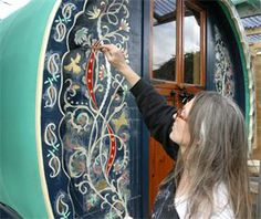 While my Schoolie is not going to be a traditional Gypsy Bowtop, I'm still in love with the Bohemian Artwork. Perhaps my Bus will need to add this flare to its exterior too. Caravan Home, Gypsy Caravan, Gypsy Wagon, Gypsy Life, Gypsy Soul, Modern Hippie Style, Hippie Chic, Gypsy Trailer, Gypsy Living