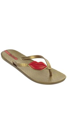 b55b596253c168 iPanema 2014 Neo Love Red Lips Gold Flip Flops  iPanema  2014  Beach   FlipFlops  Sandal  SouthBeachswimsuits