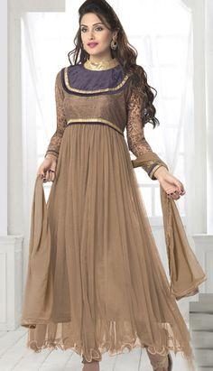 Beautiful Latest Brown Brasso Soft Nett Anarkali Suit, Dress