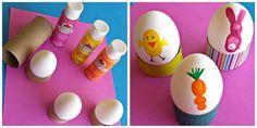 Coquetiers d'oeufs de Pâques multicolores