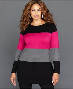 INC International Concepts Plus Size Sweater, Long-Sleeve Colorblock Tunic - Plus Size Sweaters - Plus Sizes - Macy's