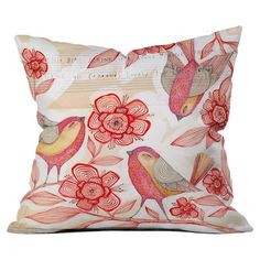 Multicolor throw pillow with a bird and floral motif. Designed by artist Cori Dantini.  Product: PillowConstruction ...