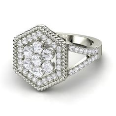 Round White Sapphire Platinum Ring with White Sapphire - Floral Cable Ring