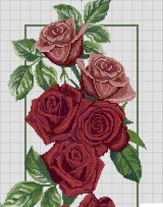 Climbing Roses part 1 Just Cross Stitch, Cross Stitch Flowers, Cross Stitch Charts, Cross Stitch Designs, Cross Stitch Patterns, Cross Stitching, Cross Stitch Embroidery, Embroidery Patterns, Bordado Tipo Chicken Scratch
