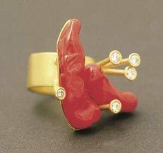 Rike Bartels - ring - gold 900, Murano glass, diamonds (via Galerie Slavik, No. 110611)