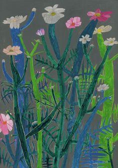 Colorful, superfun illustrations by Osaka-based artist Miroco Machiko. Botanical Art, Botanical Illustration, Illustration Art, Plant Art, Design Graphique, Motif Floral, Japanese Artists, Naive, Art Plastique
