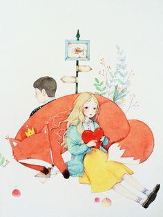 水彩详细过程图-那仁_水彩过程图,小清新,狐狸,少女_涂鸦王国插画