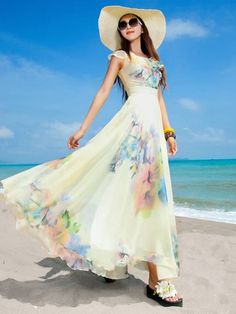 Attractive Blended Floral Printed Maxi-dress Maxi Dresses from fashionmia.com