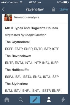 "I don't think it's accurate that ENFPs would most likely be in Slytherin. The value system of most ENFPs would prevent them from ""using any means to achieve their ends."" Most ENFPs don't put any stock in status or the appearance of success."