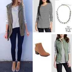 Cute & Trendy Spring Outfit Idea: Utility Vest and Striped Top (And It's All On Sale!) | The Budget Babe | Bloglovin'
