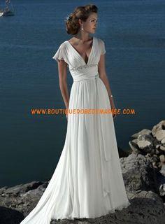 Robe de mariée Empire col V avec traîne