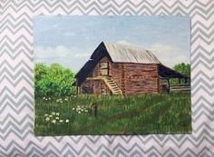 Vintage Painting, Barn, Farm Scene, Country Cottage Farmhouse Decor Wall Art, Ready to Frame