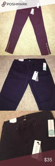 "Violet Skinny Ankle Zip Jeans | 29 Cute deep violet jeans originally from Stitch Fix, BNWT & never been worn! Ankle skinny jeans with gold zipper details at bottom. Traditional fly and back pockets. Stretch denim. Described as ""ankle length, sculpting fit."" Super cute! 👖😊 JustBlack Jeans Skinny"