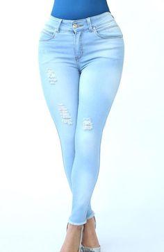 Ref: 411  JEAN OCHENTERO 1 BOTON  (Stone Claro) Capri Pants, Skinny Jeans, Color, Up, Fashion, Gifs, Pockets, Trousers, Buttons