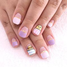 Gudetama nails - 27 Kawaii Nail Art Designs Kawaii Nail Art, Cat Nail Art, Cat Nails, Pastel Goth Nails, Cute Gel Nails, Cute Nail Art Designs, Disney Nails, Rainbow Nails, Christmas Nail Designs