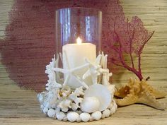 40 Sea Shell Art and Crafts Adding Charming Accents to Interior Decorating - Jennifer Blevins l Mad Dogs & Englishmen - Seashell Candles, Seashell Art, Seashell Crafts, Sea Crafts, Crafts To Make, Arts And Crafts, Shell Decorations, Decoration Table, Seashell Projects
