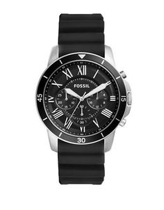 Fossil Grant Sport Stainless Steel Silicone Strap Watch Men's Black