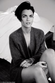 Stripped back: Ruby Rose looks striking in chunky grey knit as she goes braless and bare legged for stunning fashion editorial for L'Officiel Italia's May issue