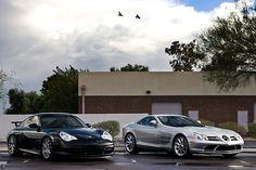 Porsche 911 GT3 and Mercedes-McLaren SLR