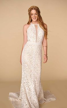Vintage Boho Wedding Dress with High Halter Neckline - All Who Wander - The Crystal Bride - Geneva IL Bohemian Wedding Dresses, Boho Bride, Wedding Dress Styles, How To Dress For A Wedding, Essense Of Australia, Bridal Style, Bridal Gowns, Wedding Gowns, Wedding Outfits