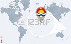 Mapa del mundo azul abstracto con Kiribati magnificado. Ilustración vectorial Maps, World, Flags, Abstract, Blue Nails, Photos