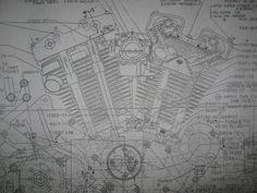 Knucklehead harley engine drawing blueprint motorcycles harley davidson sportster engine transmission frame lot blueprints poster print malvernweather Images