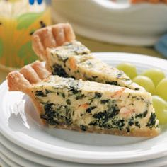 Crab and Spinach Quiche.  thinly sliced, nice appetizer - regular slice, nice meal with a salad.