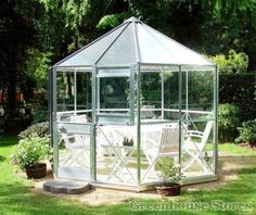 Eden Pleiades hexagonal greenhouse in silver with toughened safety glass. Buy now from Greenhouse Stores with free UK delivery.