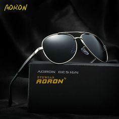 cac02b58ee 2017 AORON Pilot Sun Glasses Men Polarized Sunglasses with Logo Brand  Design Driving Glasses Sports Goggles Oculos de sol