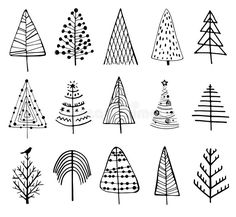 15 designs of doodle christmas trees. to create holiday cards, backgrounds, ornaments, Christmas Doodles, Christmas Art, Christmas Projects, Christmas Ornaments, Simple Christmas Tree Drawing, Tree Drawing Simple, Christmas Tree Zentangle, Easy Christmas Drawings, Xmas Drawing