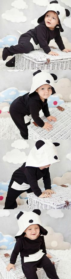 Cute panda overalls, perfect as pijamas or daily suit for your little one, perfect gift idea for kids, animal overalls, comfortable, warm and soft - a unique product via en.dawanda.com