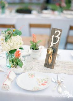table numbers vintage door plates and door knobs by DessineAToi, $40.00