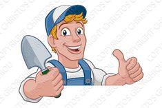 Cartoon Garden, Garden Spade, Property Design, Diy For Men, Cartoon Man, Paint Brushes, Disney Characters, Fictional Characters, Custom Design