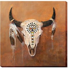 """Add a native American touch to your Southwest decor with this unique Bison Skull Canvas Wall Art """"Big Medicine"""". Buffalo Art, Buffalo Skull, Buffalo Painting, Deer Skull Art, Skull Decor, Deer Skulls, Indian Skull, Indian Art, Bull Skulls"""
