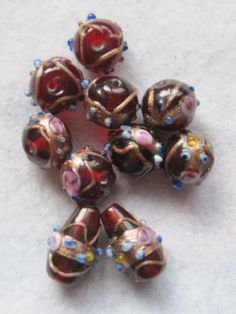 Porcelain Round Beads 10mm Mixed 10 Pcs Art Hobby DIY Jewellery Making Crafts