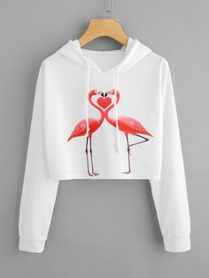 078cec87c5 SheIn - SheIn Flamingo Print Crop Hoodie - AdoreWe.com Trendi Ruhák,  Aranyos Ruhák