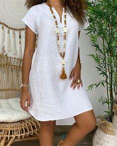 Women Casual Cotton Linen Solid Color Dress Short Sleeve V-neck Loose Dress Evening Dresses Plus Size, Plus Size Dresses, Casual Dresses, Fashion Dresses, Short Sleeve Dresses, Elegant Dresses, Long Sleeve, Floryday Dresses, Formal Dresses