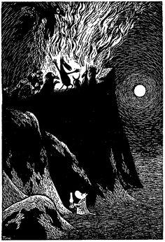 Tove Jansson's illustration (I love how cute she made that little moomin). Tove Jansson, Les Moomins, Poesia Visual, Illustrator, Art Manga, Scratchboard, Black And White Illustration, Norse Mythology, Children's Book Illustration