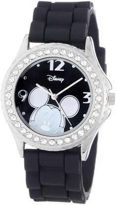Disney Women's MK1094 Rhinestone Accent Mickey Mouse Black Rubber Strap Watch…