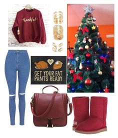 """I ❤️ xmas"" by sindimaloku ❤ liked on Polyvore featuring Topshop, UGG Australia and Forever 21"