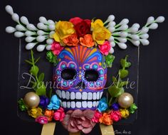 Easel mask, Dania Elisai Arte, Day of the Dead de DaniaElisaiArte en Etsy