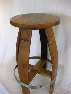 Upcycled wine barrel....bar stool made from a wine barrel.  nice!