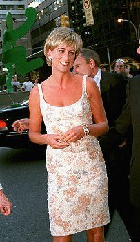 June 25, 1997: Diana, Princess of Wales arrives at Christies Auction In New York City for the sale of her 79 dresses.